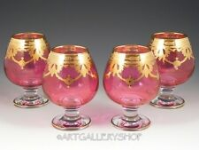Arte Italica CRANBERRY PINK MEDICI SNIFTERS GLASSES GOBLETS Gold Encrusted Set 4