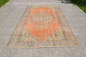 Orange Vintage Turkish Rugs, Oushak Vintage Rug, Vintage Wool Rug, Entryway Rug,