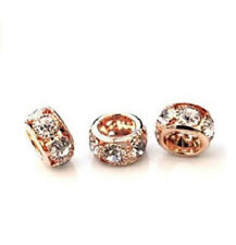 Premium Rose Gold 12mm Spacer with Clear Crystals Set Of 16