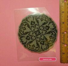 Hero Arts Medallion Circle elegant lace Cling rubber stamp EUC (1516)