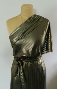 Bronze Gold Foiled Metallic Striped Jacquard Chiffon Dress Fabric Material