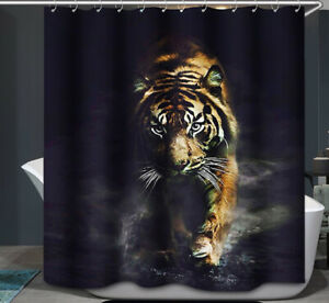 TIGER Prowling Fabric SHOWER CURTAIN 70x70 Black