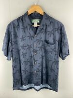 Two Palms Mens Navy Vintage Hawaiian Short Sleeve Button Up Shirt Size Medium