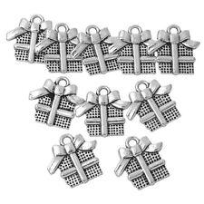 20 Pendentifs Breloques Boîte de Cadeau Noël Bijoux Création 16.5x16mm