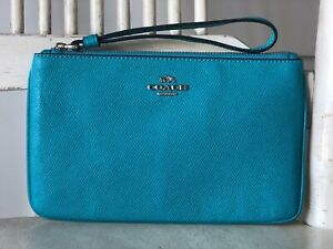 COACH F57465 Turquoise Crossgrain Leather Large Wristlet Wallet MSRP $125