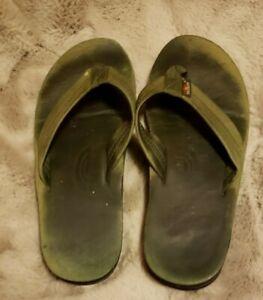 Rainbow Olive Green Flip Flop Sandal size 10