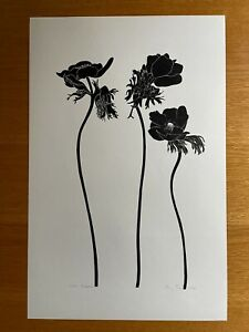 Vintage Henry Evans print Anemone flower 7/120 signed numbered 1975 linocut
