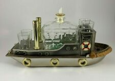 Vintage Musical Boat Tugboat Decanter Music Box Bar Set Shot Glasses Japan RARE