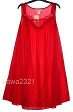 RED Embroidery Satin Sleeveless Women's Nightgown Sleepwear #9006 - Sz L