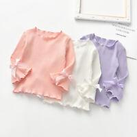 Cute Autumn Kids Baby Girl Blouse Long Flare Sleeve T-Shirts Bowknot Tops Shirts
