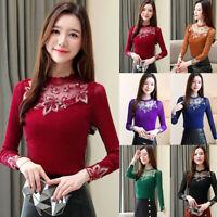 Fashion Korean Women's Long Sleeve Elegant Lace Blouse Hollow Out Chiffon Shirt