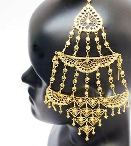 Indian Wedding Hair BunPin Pasa Bridal Jhumar Hijab Gold Plated Head Jewelry J02