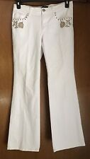 Women's New York & Company White Jeans Size 10 Roses On Front Pockets