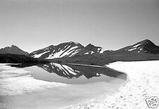 Paysage montagne Alpes neige lac - Tirage d'après négatif photo ancien deb. XXe