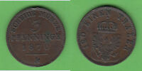 3 Pfennig 1870 A Preussen Randfehler (3103) stampsdealer