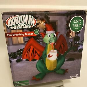 Christmas Gemmy 6.5 ft LED Fire Breathing Dragon Cup of Hot Chocolate Inflatable