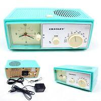 Crosley CR3004A AM/FM Clock Radio Sea Foam Green Vintage Inspired Aux In Port