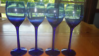 Cobalt Blue Wine Glasses Stems Tall Elegant Wine glasses 4 10oz stems