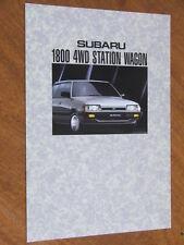 1992 Subaru 1800 4wd Station Wagon original Australian 8 page brochure