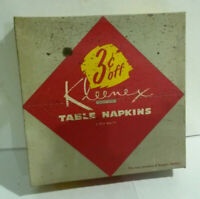 """Kleenex Table Napkins NOS 1955 dated never opened 50 count 15.5"""" by 15.25"""""""