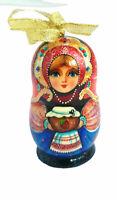 Boule de Noel en bois  - Décoration de Noël- Poupée russe-Peinte par Vladimirova