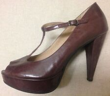 Office Scary Mary Burgundy Wine Red Leather T-Bar Peep Toe Strappy Shoes 40 6.5