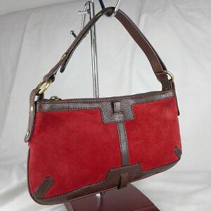 Authentic Rare Vintage Burberry Red Suede Very Small Shoulder Handbag Purse VGC