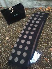 Paul Smith Polka Dot Wool/Silk Mens Scarf Black New Tags RRP £150 Signature