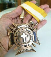 "Vtg 1950s Knights of St John Buffalo Temple Medal Pin w/ Neck Ribbon 3-9/16"""