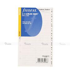 Filofax Book Personal A Z Slimline Index White 2 Letters Per Tab Refill 131653