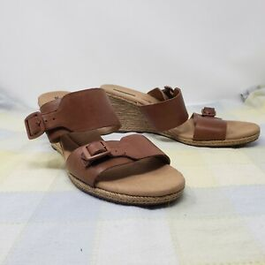 Collection by Clarks 12m brown tan wedge espadrille slide buckle wide strapsNEW
