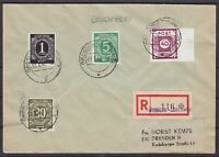SBZ Mi Nr. 50 G mit All. Besetz. 911, 915, 928 MiF auf Kempe R- Brief Dresden