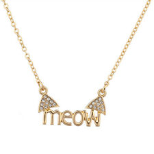 Lux Cat Ears Meow Kitty Pave Animal Lover Crystal Pendant Necklace