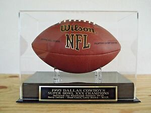 Dallas Cowboys Football Display Case W/ A Super Bowl 30 Engraved Nameplate