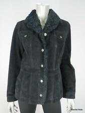 WILSONS LEATHER MAXIMA S Black Suede Leather Faux Fur Collar Jacket Coat EUC
