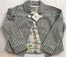 NWT Hanna Andersson Size 140 10 Yrs Stripe Floral Lined Button Collar Jacket Top