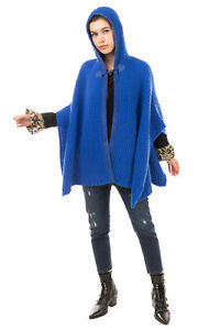 RRP €1730 COLOMBO Cashmere Knitted Cape Size M Unlined Hooded Made in Italy