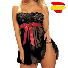 conjunto lenceria sexy vestido + tanga encaje gasa negro lazo rojo talla M nuevo