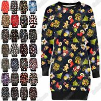 New Ladies Xmas Reindeer Santa Print Tunic Jumper Chrismas Long Sweatshirt 8-22