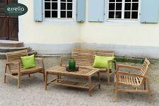 essella Teak-Holz Sixties Garten Lounge Set 4-Personen 60er Design Sitz Garnitur