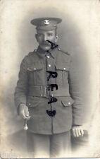 WW1 Soldier Pte Welsh Regiment wears webbing belt & holds swagger stick Redcar
