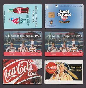 Coca-Cola and McDonalds Phonecards Coke Germany Deutschland chip telefonkarte