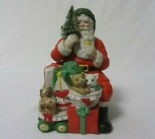 """Santa Claus 6"""" High Figurine Sitting With Presents Kittens & Puppies Music Box"""