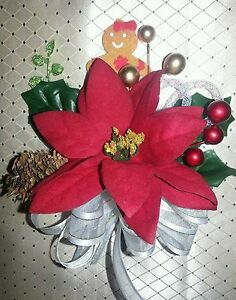 Christmas poinsettia corsage red, gold, silver or ivory gift or winter wedding