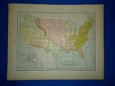 Vintage 1899 Map ~ TERRITORIAL GROWTH of the UNITED STATES ~ Antique Authentic