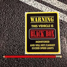 BLACK BOX Monitored Vehicle WARNING car sticker insurance young driver Safety