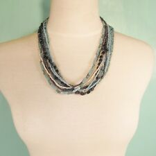 "20"" Short Multi Aqua Blue Multi Color  Handmade Seed Bead Bali Necklace"