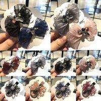 Chic Women Girls Bow Crystal Hair Clip Hairpin Bobby Hair Accessories Headwear