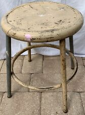 "Industrial Shop Stool Distressed Metal Vintage chipped splattered Paint 17"" Old"
