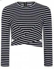 Eliacher Full Sleeve Cut-Out Back Zipper Blouse Crop Top Cotton Blend XL